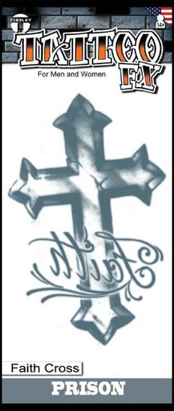 Tinsley Transfers Prison Faith Cross Temporary Tattoo Halloween FX Makeup