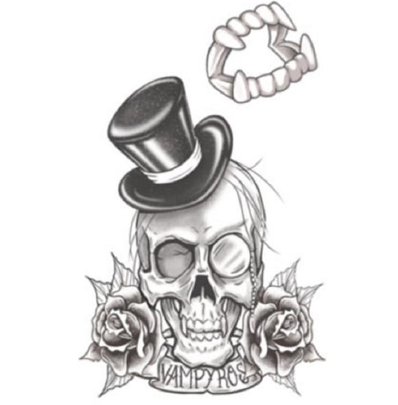Tinsley Transfers Vampyros Goth Temporary Tattoo Halloween FX Makeup