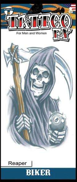 Tinsley Transfers The Reaper 8 Ball Temporary Tattoo Biker Halloween FX Makeup