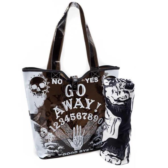 Kreepsville Go Away Ouija Large Beach Tote Bag Purse Translucent PVC
