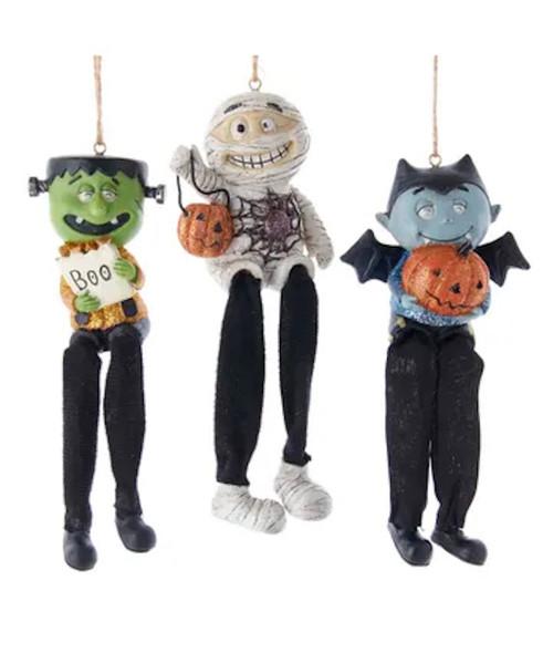 Mummy, Vampire and Frankenstein Halloween Ornaments Decor Set of 3