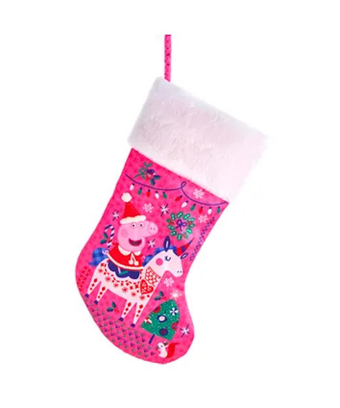 Peppa Pig Pink Satin Holiday Christmas Stocking with Plush Trim