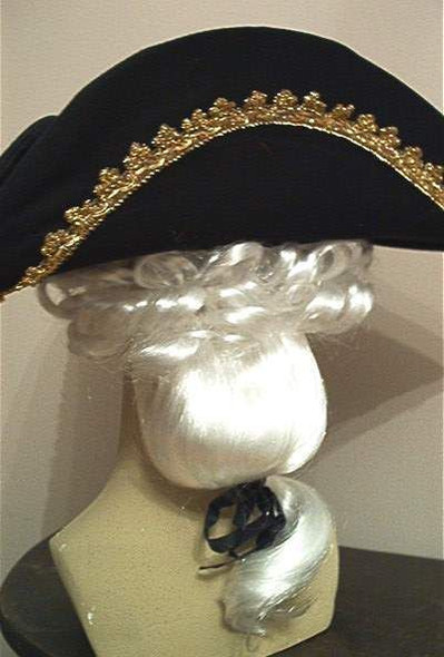 Adult Colonial Tricorn Black Hat with White Wig George Costume Accessory Pirate