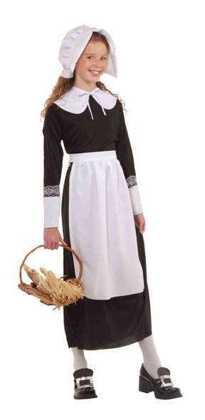 Girl's Child Instant Pilgrim Costume Set Thanksgiving White Bonnet Apron Collar