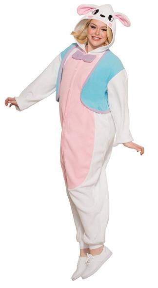 Bunny Pajama Sleepwear Adult Costume White Jumpsuit Easter Rabbit Unisex Stdd