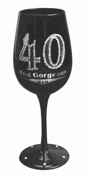 40 and Gorgeous Black Wine Glass Goblet Silver Gems Happy Birthday Gift
