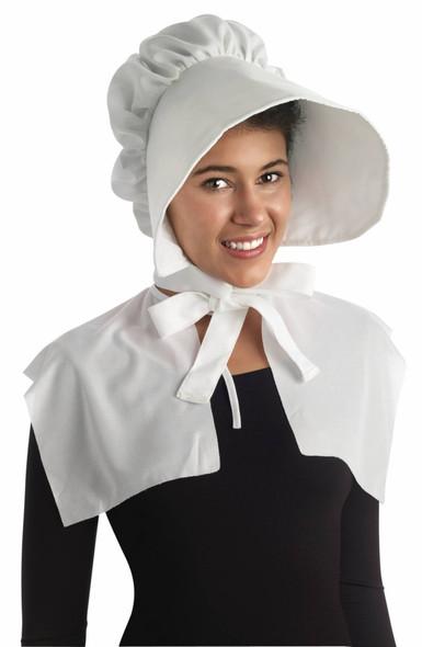 White Pioneer Women's Bonnet Hat Wide Brim Adult Prairie Costume Accessory Amish