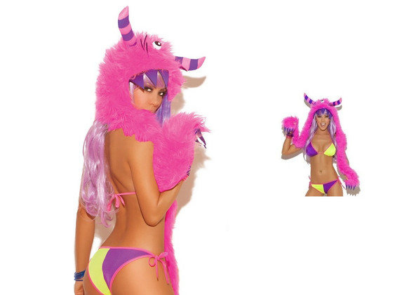 Neon Pink Purple One Eyed Monster Scoodie Hood Horns Claws Rave Wear Faux Fur