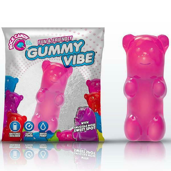 Rock Candy Sex Toys Mini Gummy Vibe Bubblegum Pink With Snuggle Nose Sweet Spot