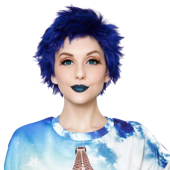 Rockstar Quality Sassi Short Royal Blue Costume Wig Adult Cosplay Heat Stylable