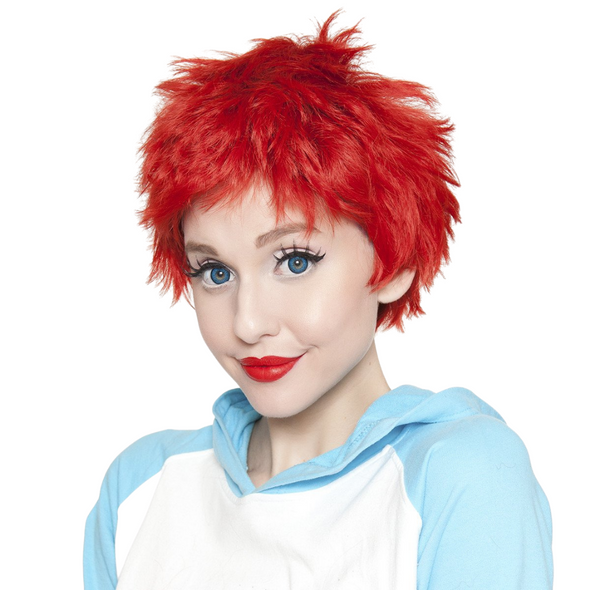 Rockstar Quality Sassi Short True Red Costume Wig Adult Cosplay Heat Stylable