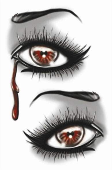 Tinsley Transfers Goth Evil Eye Blood Tears Temporary Tattoo Halloween Makeup