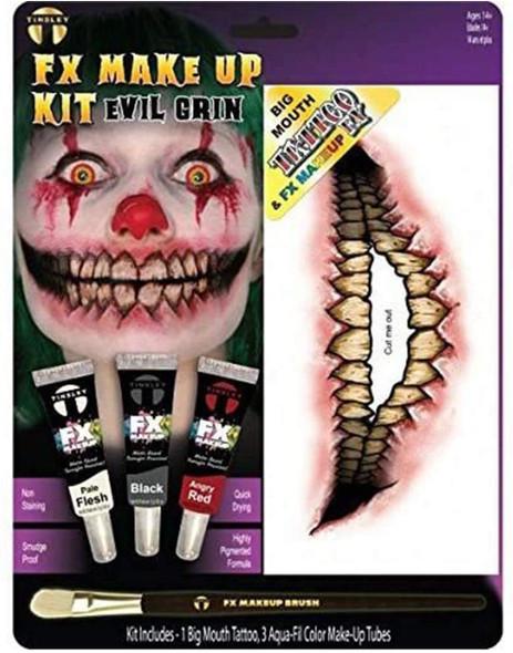 Tinsley Transfers Evil Grin Big Mouth Tattoo Makeup Kit Halloween Face Paint