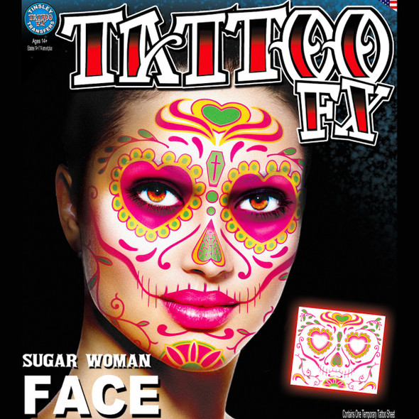 Tinsley Transfers Sugar Skull Woman Day Of The Dead Temporary Tattoo Halloween