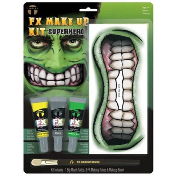 Tinsley Transfers Superhero Big Mouth Tattoo Makeup Kit Halloween Face Paint