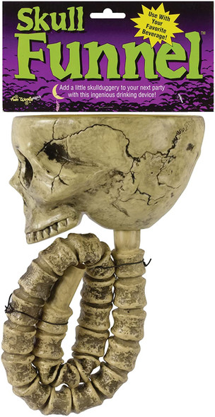 Fun World Skeleton Skull Beverage Chug Funnel Halloween Party Accessory
