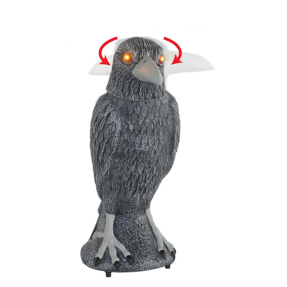Spooky Raven Motion Animated Sound & Light-Up Yellow Eyes Halloween Decor Prop