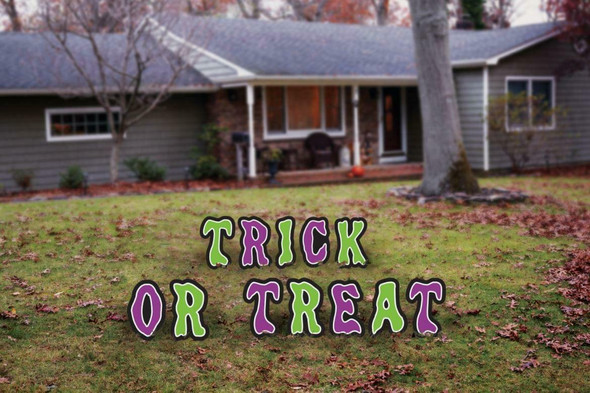 Lawn Sign Trick Or Treat 15.75 Inch Letters Halloween Yard Decoration