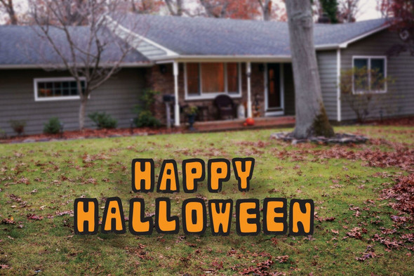 Lawn Sign Happy Halloween 15.75 Inch Letters Yard Decoration