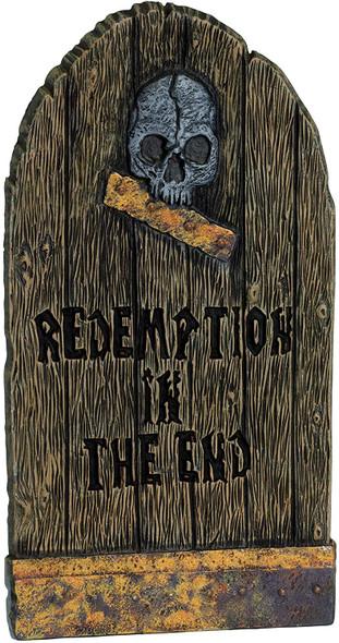 "Fun World Skull Redemption In The End Wood Grain Halloween Decor 21"" Tombstone"