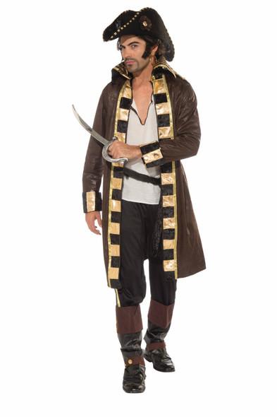 Buccaneer Captain Pirate Costume Hat Jacket Swashbuckler Adult Men Standard Gold