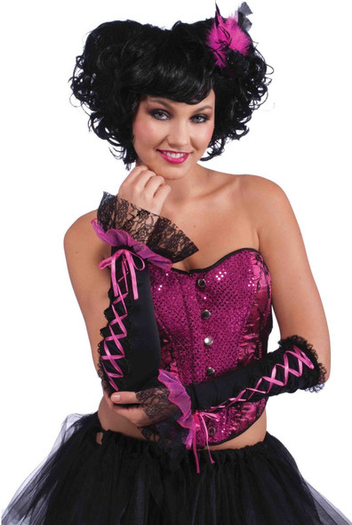 Burlesque Arm Sleeves Adult Costume Accessory Black Pink Lace Glove Fingerless