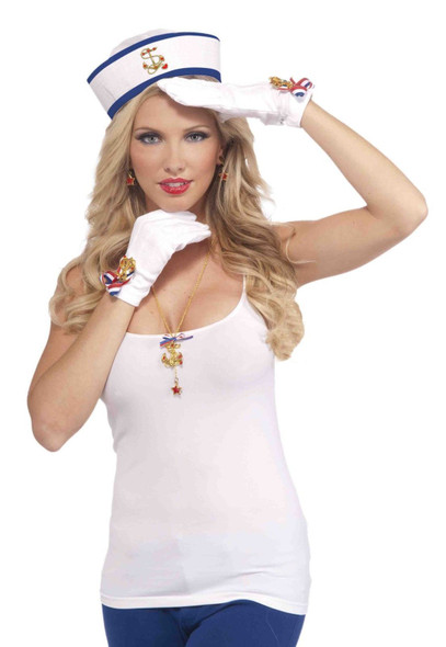 Lady in the Navy Short Gloves White Patriotic Wome Costume Accessory Gold Anchor