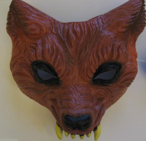 Rusty Brown Wolf Latex Half Face Mask Halloween Men Women Costume Werewolf Fox ?