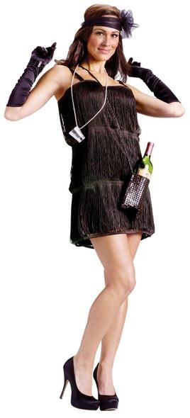 Black Flapper Costume m/l 10-14 Fancy Dress Fringe Pearl Necklace Shot Glasses