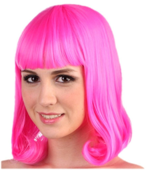 Hot Pink Fuschia Wig Pageboy Rave Halloween Flapper Neon Women Costume Accessory