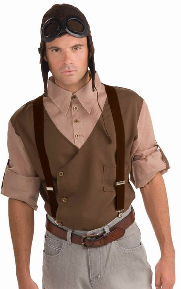 Brown Suspenders Adult Steampunk Farmer Halloween Mens Costume Aviator Accessory