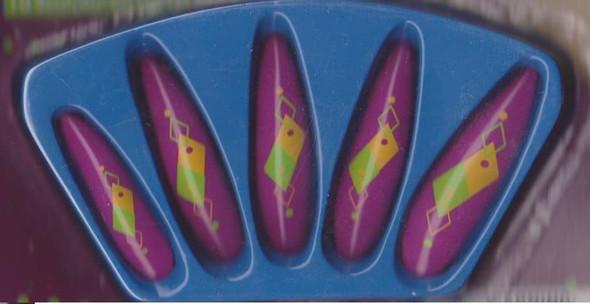 Mardi Gras Long Nails Stick-on Purple Green Yellow Costume Accessory Prop New