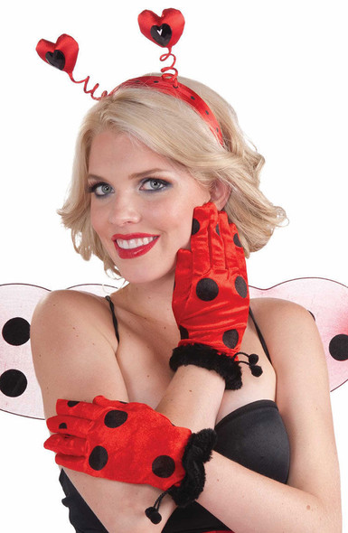 Lady Bug Short Gloves Halloween Women Men Black Red Hand Accessories Ladybug New