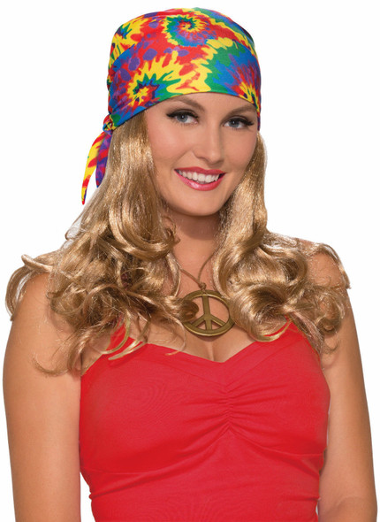 Generation Hippie Head Scarf With Attached Wig Adult Bandana Blonde Tye Dye