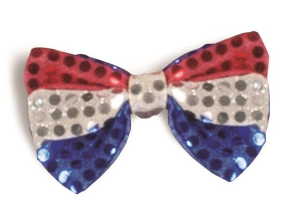 Patriotic Bow Tie Costume Accessory Red Silver Blue Sequins Bowtie Adult Men Std
