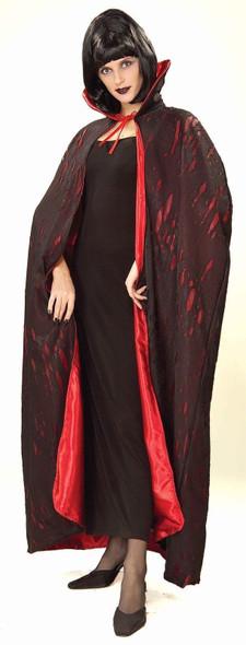 Tattered Vampire Cape Adult Lined Bloody Look Costume Dracula Demon Satan Devil