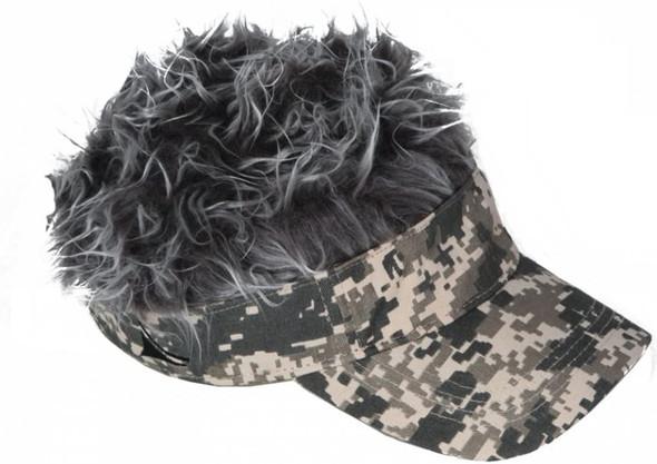 Spiked Hair Digital Camo Visor Cap Joke Novelty Gag Gift Fake Grey Fur Golf Hat