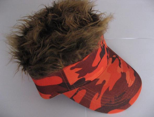 Spiked Hair Camo Visor Orange Cap Joke Novelty Gag Gift Brown Fur Golf Hat Men