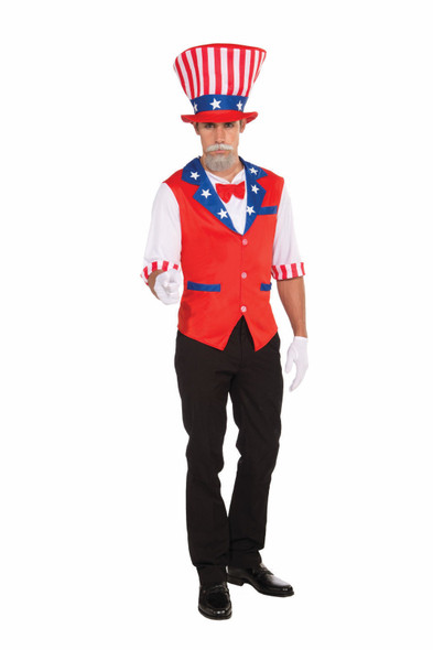 Uncle Sam Hat & Shirt Costume Kit Adult Standard Vest Bowtie Patriotic 4th July