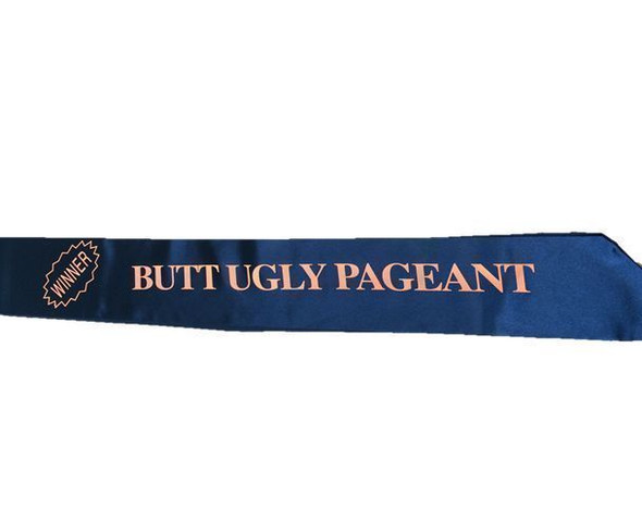 Funny Halloween Butt Ugly Pageant Contest Winner Sash Banner Costume Accessory