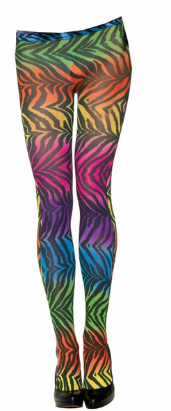 Animal Party Rainbow Zebra Womens Tights Pantyhose Clown Adult Hosiery Clubbing