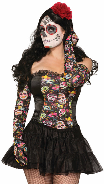 Day Of The Dead Long Gloves Skeleton Opera Length Halloween Women D?a de Muertos