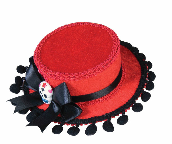 Mini Red Velvet Day Of The Dead Top Hat Costume Accessory Skull Black Pompoms