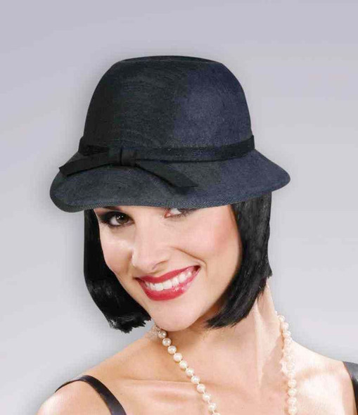 Black Cloche Flapper Hat Women Costume Accessory Roaring 20's the Great Gatsby