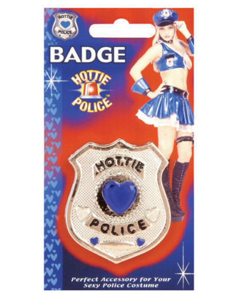 Sexy Police Officer Hottie Badge Costume Accessory Prop Gem Hearts Pin New