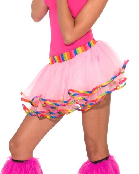 "Women Sexy Rainbow Tutu Skirt Layered Crinoline Adult Pink 11"" Costume Accessory"
