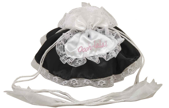 Sexy French Maid Black Hand Bag Purse Oooh-lala Women White Lace Tote