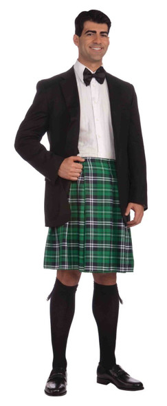 Gentlemans Kilt Green Plaid St. Patricks Day Irish Skirt Men's Costume Accessory