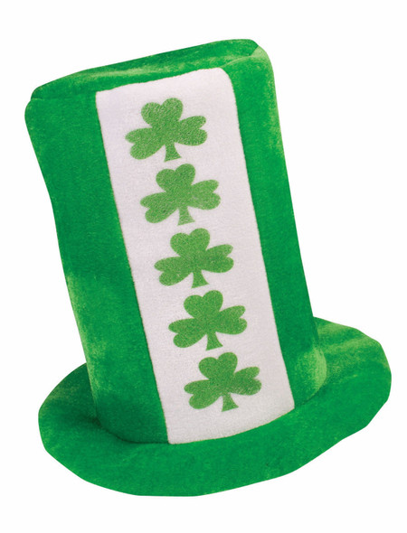 Green St. Patricks Day Tall Hat Costume Accessory Shamrock Adult Men Women's New