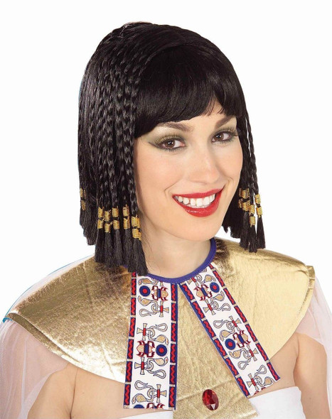 "12"" Black Cleopatra Wig Gold Braids Roman Egypt Costume Accessory Women's Adult"